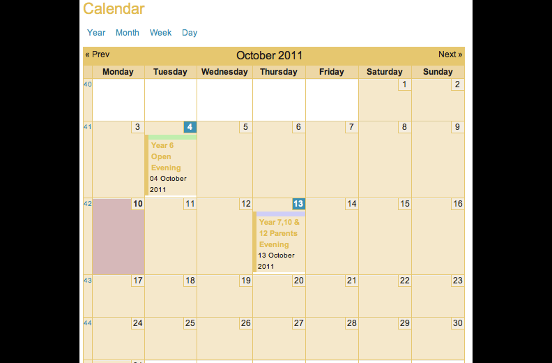 Calendar view on the Kirkby Stephen Grammar School website