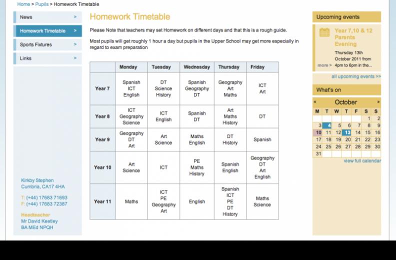 Pupils area on the Kirkby Stephen Grammar School website