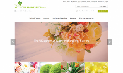 Home page for the Artificial Flower Shop