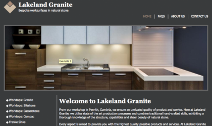 Lakeland Granite home page designed and developed by Arrow