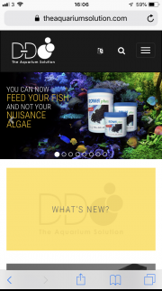 D&D The Aquarium Solution home page shown on a mobile