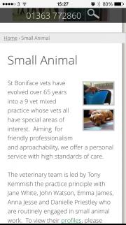 St.Boniface website on an iPhone