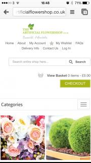 The Artificial Flower Shop home page displayed on a mobile