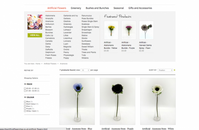 Category page for the Artificial Flower Shop