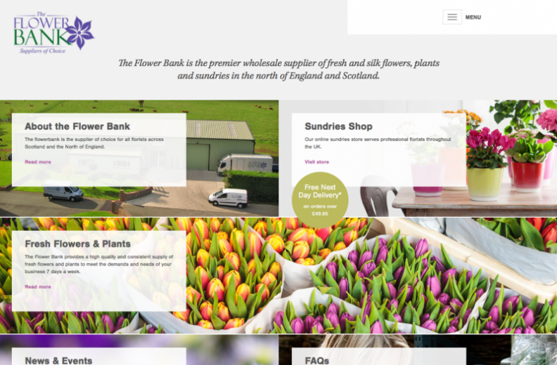 Home page of the Flower Bank on a Desktop