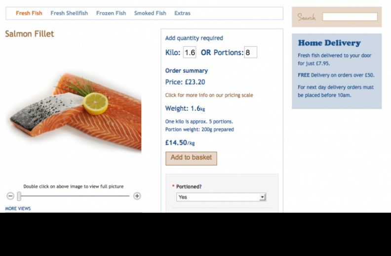 Bell's Fishmongers purchasing a salmon fillet using the custom module