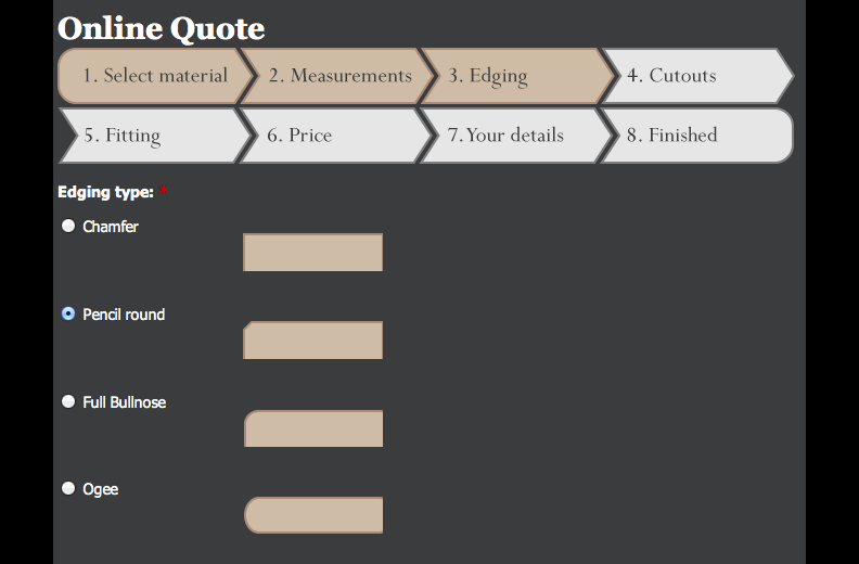 Lakeland Granite - Step 3 on the online quote system